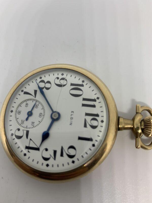 Vintage Elgin Pocket Watch 12 Size 15 Jewel ,Gold Filled Good Running Condition