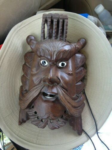 Rare Mighty Antique Chinese Longan Wooden Dragon King Oni Mask Inlays
