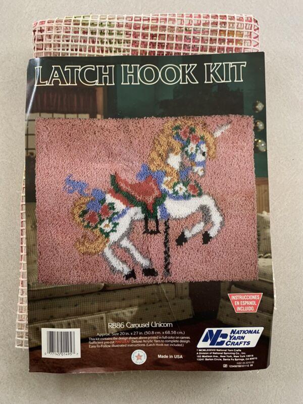 Vtg NYC Latch Hook Kit Carousel Unicorn Horse 20X27 Merry Go Round National Yarn
