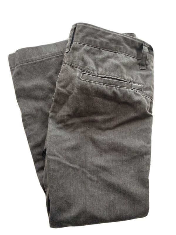 Volcom VMONTY Washed Gray Flat Front Straight Leg Chino Pants Boys Size 26, 12Y