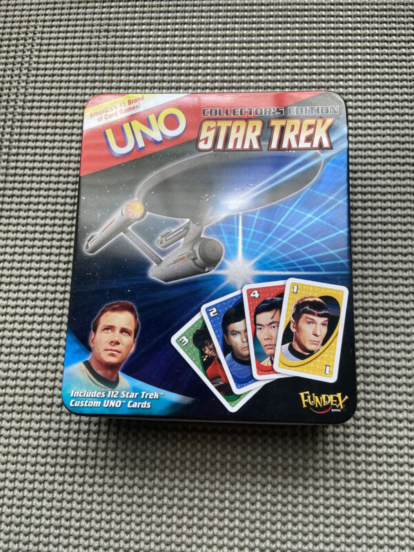 Star Trek Uno Collectors Edition Tin Complete Opened has been used