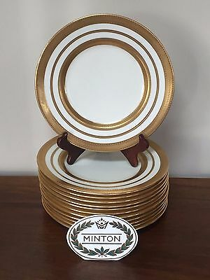 Set of 12 Antique MINTON FOR TIFFANY Gold Encrusted Plates c.1920 ~ England