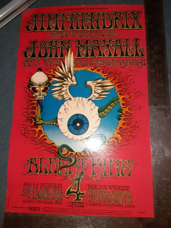 "BG-105 Jimi Hendrix ""Flying Eyeball"" 2nd Print Concert Poster"