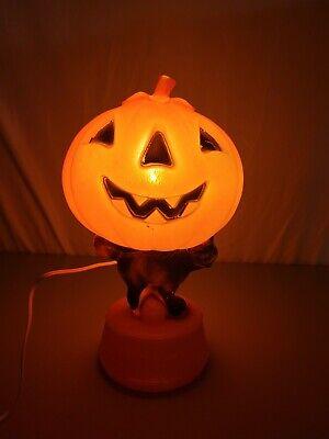 Vintage Pumpkin Black Cat Blow Mold Dancing Skeletons Base Jack-o-Lantern Light