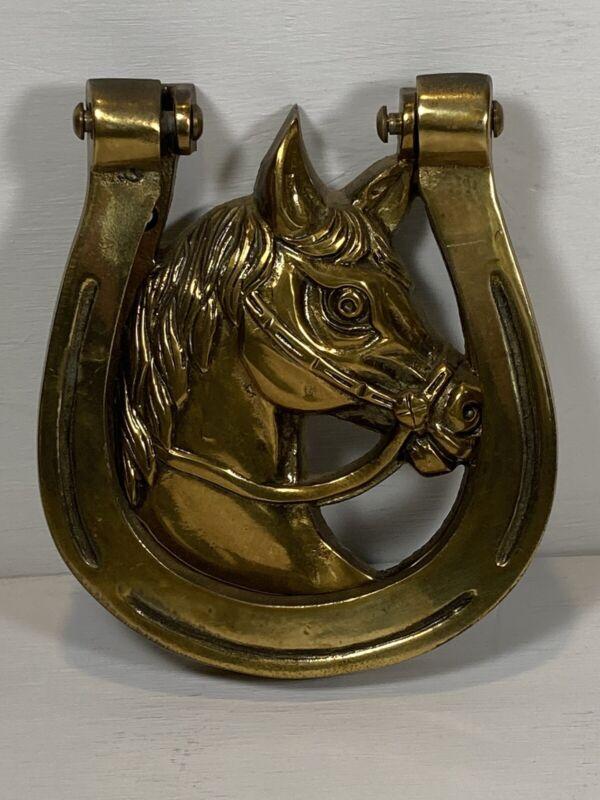 Vintage Brass Horse Head Horseshoe Door Knocker Mounting Hardware Lucky 🍀 NOS