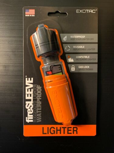 Exotac fireSLEEVE Ruggedized Waterproof Lighter Case Fits BIC Classic - Orange