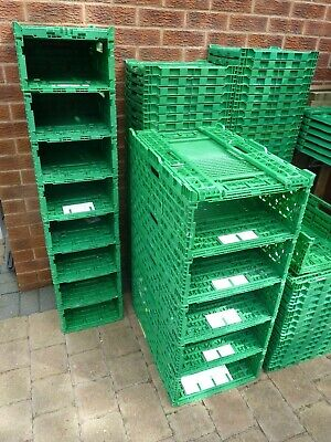 Plastic Storage Crates  x1 Folding Stackable Strong & Durable 400 x 300 x 120mm