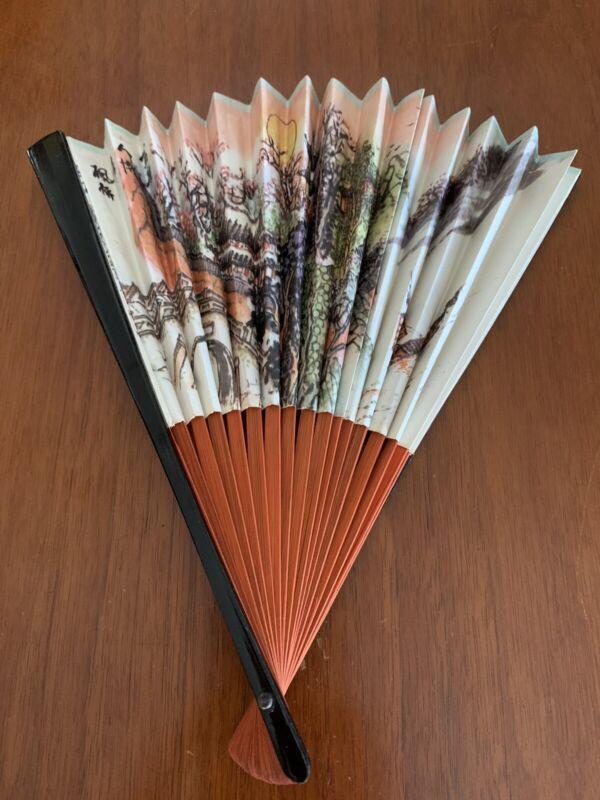 "Vintage Japanese Paper Folding Hand Fan 9.5"" Floral Scene CAAC Orange Ivory"