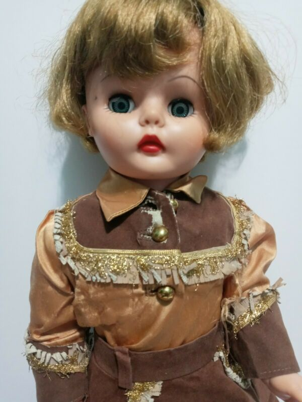 """Vintage 1960s Cowgirl Doll 20"""" Rooted Hair Sleep Eyes Western Outfit & Boots"""
