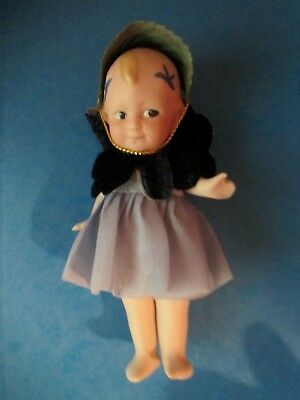 All Bisque Shoulder & Hip String Jointed Scottle Doll with Fairy Outfit