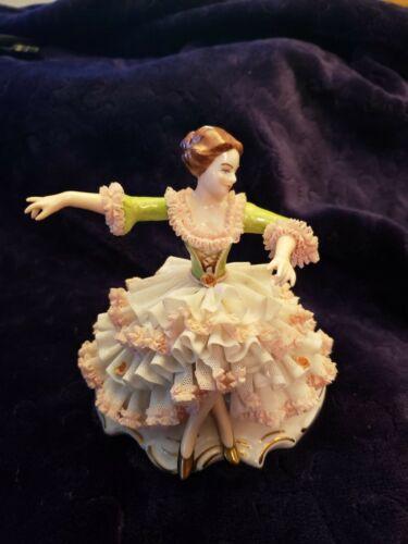 Dresden Art Woman Dancer Porcelain Figurine