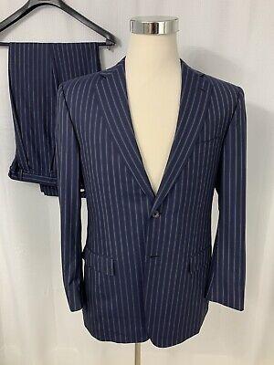 Ermenegildo Zegna Roma Fit Blue Striped Wool Silk 2 Pc Suit Jacket Pants Sz 40R