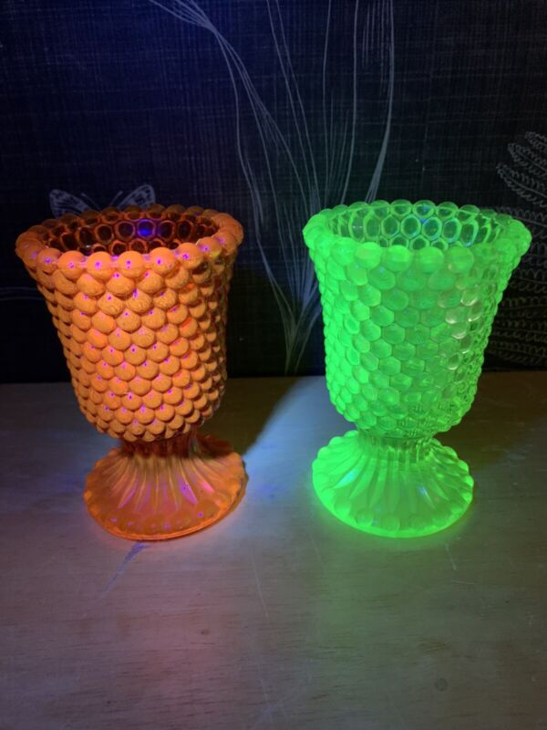 Rare Vintage Yellow & Orange Thousand Eye Uranium Vaseline Glass Goblets Glows!