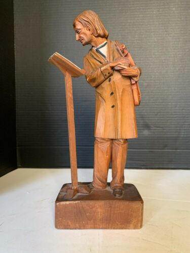 Antique Hand Carved Wood Violinist 12 inch Figurine