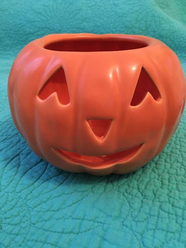 Ceramic Orange Pumpkin Jack-O-Lantern Candle/Votive Holder