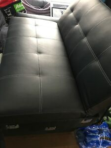 Black leather, sectional futon