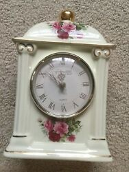 Formalities Floral Flower Rose Mantel Desk Table Top Clock Battery Operated 8 In