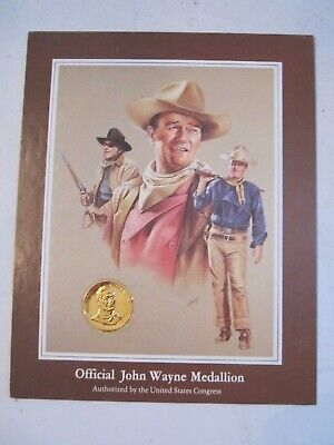 TUB LC JOHN WAYNE COMMEMORATIVE MEDAL ELECTROPLATED IN 24 KARAT GOLD WITH COA