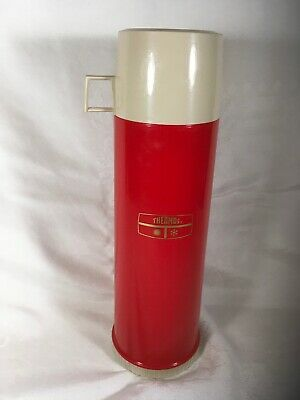 Vintage Red Thermos 1 Quart Vacuum Bottle USA 24F Plastic King Seeley Beige