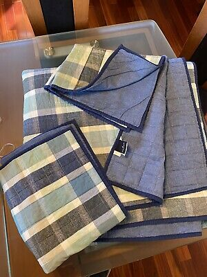 Nautica Quilted Blanket & Pillowcases Set Checked Blue-Gray Colors Cotton/poly