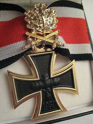 CRUZ EK Dorado Brillantes Roble ESPADAS Fuerza Aérea Jagdstaffel WW II