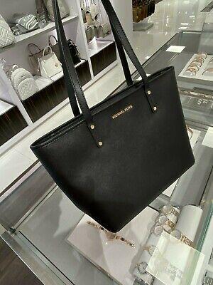 NWT Michael Kors Jet Set Travel MD Top Zip Tote Leather Shoulder Bag Black