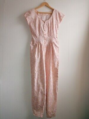 "True Vintage Retro Structured Patterned  1980s Jumpsuit Pit to pit 16"" Size UK 8"