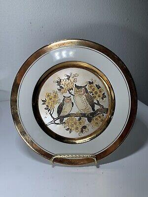 "Vintage Art Of Chokin Owls Decorative Hanging Plate 8"" Porcelain Gold Trim"