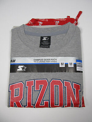 Arizona Wildcats Tee&Lounge Pant Combo STARTER 2pc Campus Gear Pack Gray/Red NWT