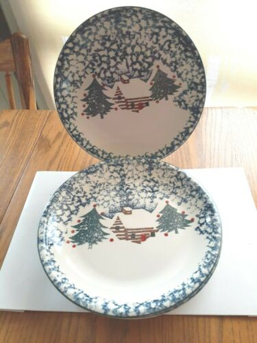 "Set of 4 Tienshan Folkcraft Cabin In The Snow 10 1/4"" dinner Plates MINT"