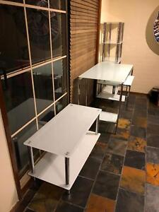 Office glass furniture - desk, book shelf & coffee table