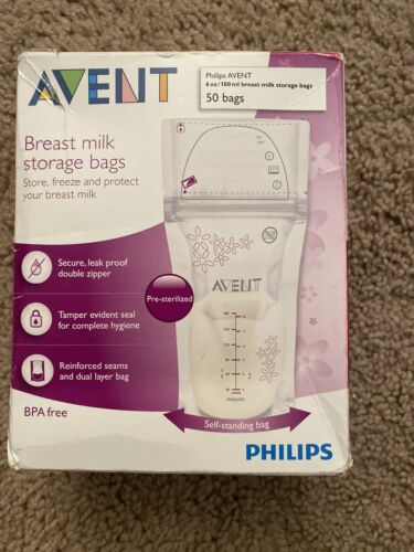 Philips AVENT Breast Milk Storage Bags, Clear, 6 Ounce, 50 P