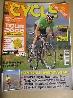 LE CYCLE N°377 : JUILLET 2008 : GUIDE DU TOUR DE FRANCE AVEC CARTE POSTER