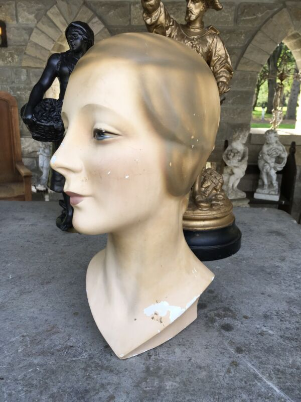 LOVELY ANTIQUE ART DECO PLASTER LADY BUST MANNEQUIN HEAD MARKED 325
