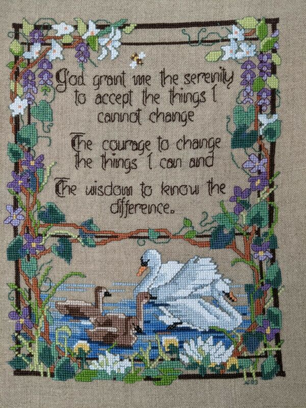 Serenity Prayer Swans FINISHED UNFRAMED cross stitch Handmade