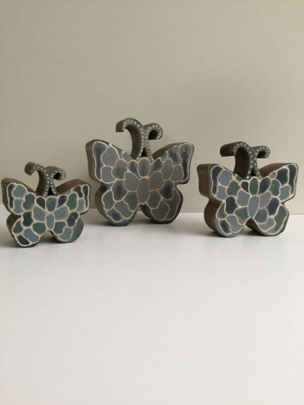 GG Collection Mango Wood Blue & Grey Butterfly Decor (set of 3)