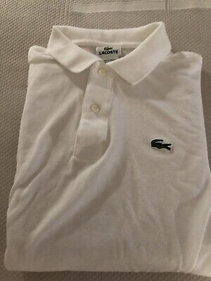 Lacoste Long Sleeved Polo, White, Size 5