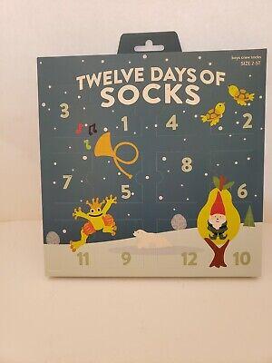 12 Days Of Socks Boys Crew Christmas Advent Calendar Size 2-5T Holiday Stocking