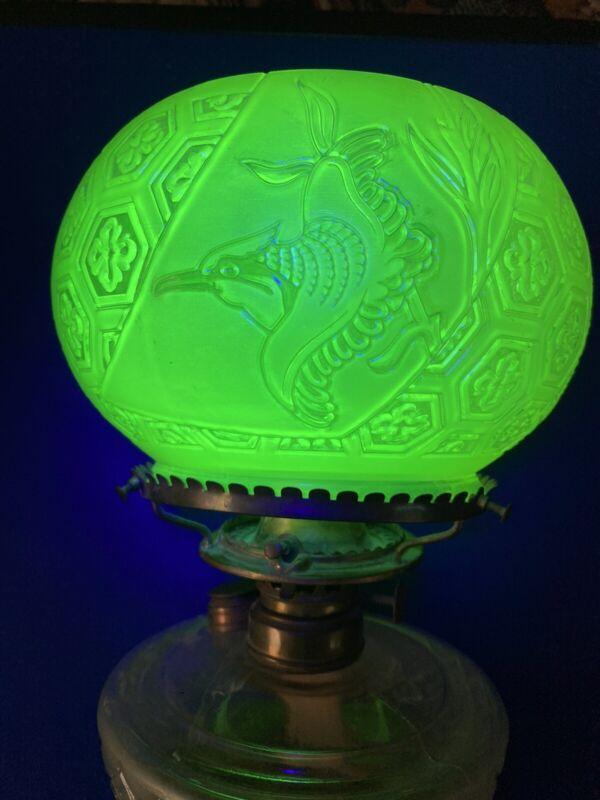 Vintage Uranium Vaseline Glass Green Glow Oil Lamp Brass Handle