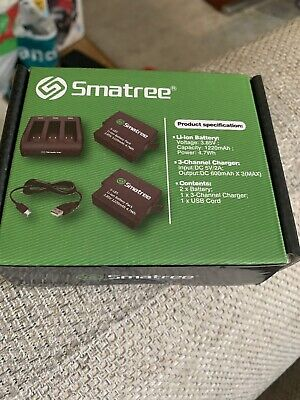 Smatree Battery (2-Pack) with 3-Channel Charger for GoPro Hero  Black