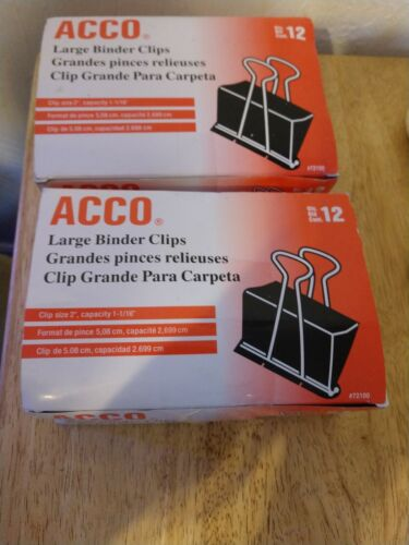 2 Brand New boxes ACCO Binder Clips Large size 12 per box Tr