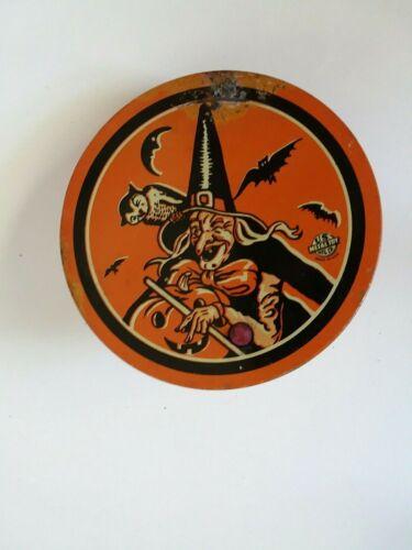 """VTG 4"""" Tin Litho HALLOWEEN Witch JOL Owl Bats Moon Noisemaker U.S. Metal Toy"""