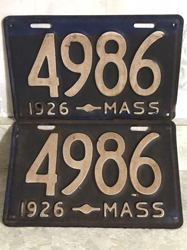 1926 Massachusetts 4 Digit License Plate
