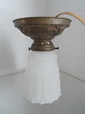 Vintage Ceiling Victorian Light Fixture Art Deco Frosted Cut Glass Shade Porch