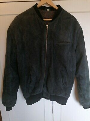Vintage Men's Retro Suede Leather Bomber Jacket BLUE Classic Soft