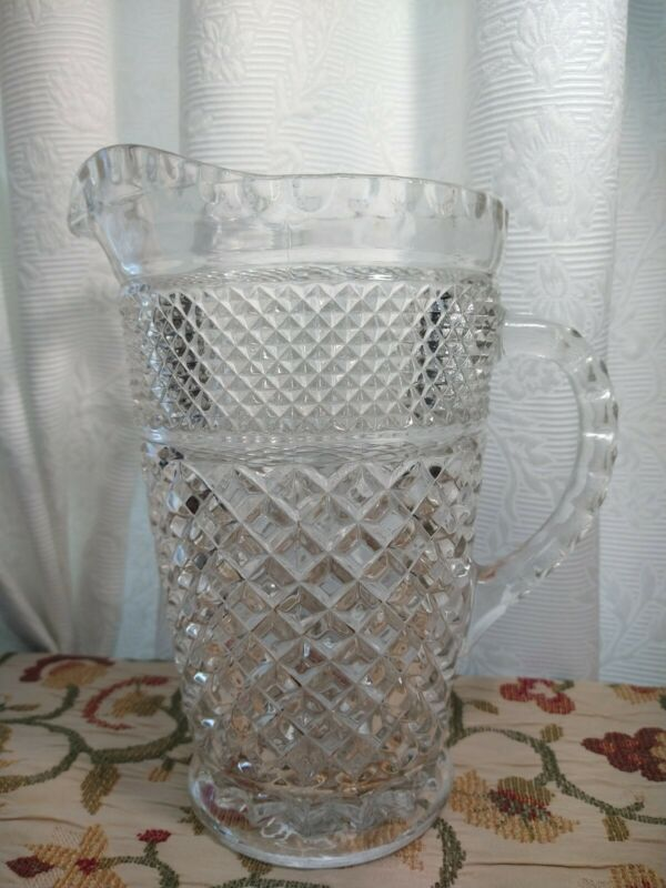 Vintage Anchor Hocking Wexford Clear Glass Crystal Pitcher