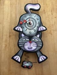 Allen Designs Kitty Cat & Mouse Pendulum Wall Clock Hand painted Signed 16NICE!