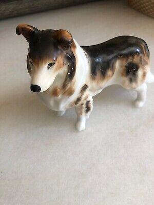 COLLIE Dog Figurine Bone China Porcelain Ceramic  VIntage Bone China Dog