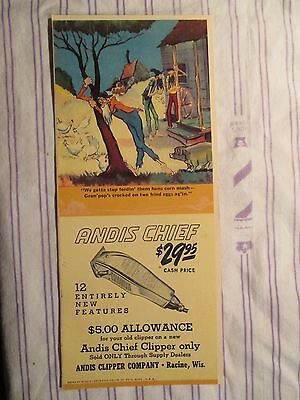 "Vintage Barbershop Humorous Andis Chief Clipper Sign/Ad Cartoon ""Mountain Boys"""