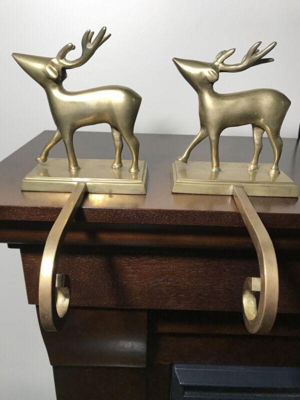 Vintage Set - Brass Metal Christmas Holiday 3D Reindeer Stocking Hanger Holder